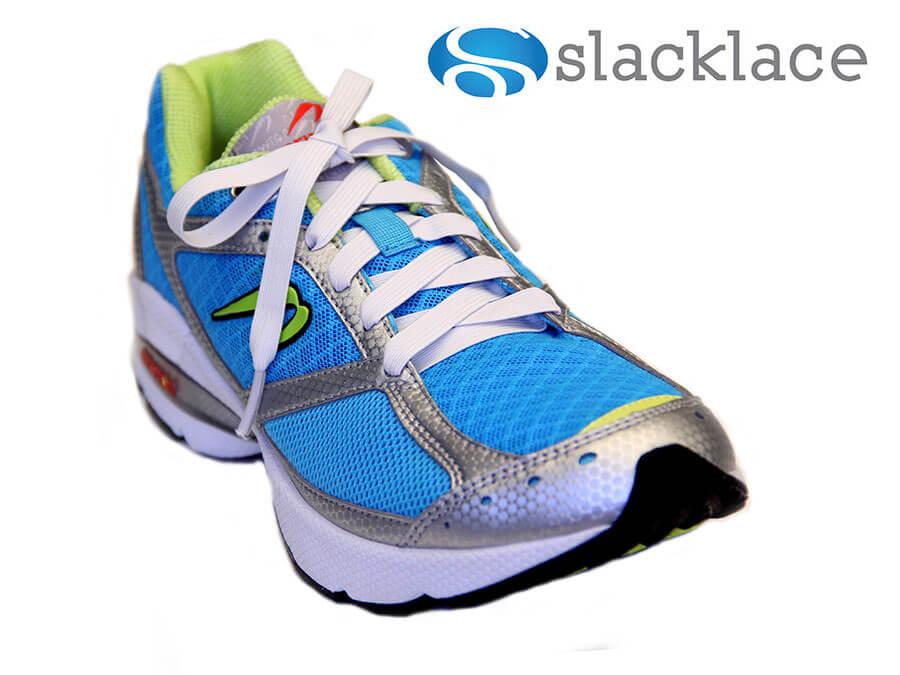 White elastic no tie flat shoelaces - Slacklace